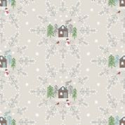 Lewis & Irene A Countryside Winter - 5523 - Snowflake Scene on Pale Grey  - C16.1 - Cotton Fabric